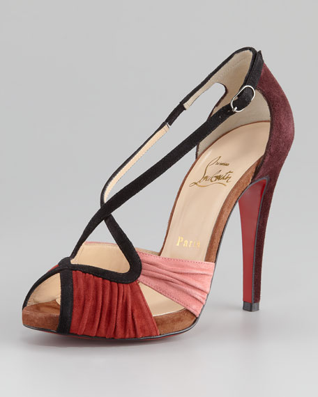 Divinoche Crisscross Suede Red Sole Sandal