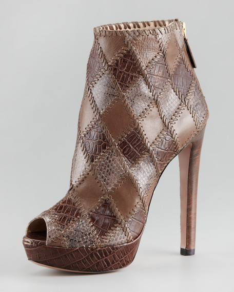 Patchwork Leather Bootie