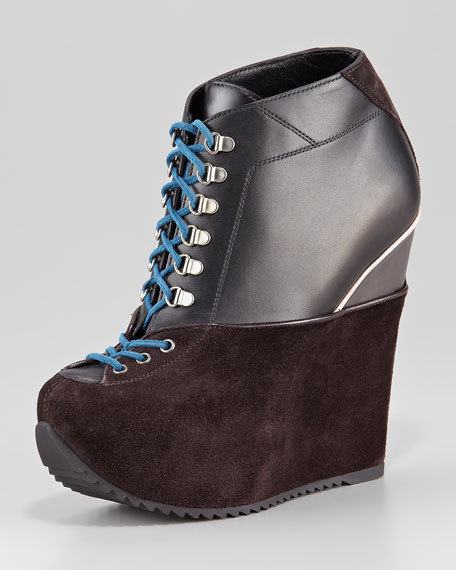 Suede-Leather Lace-Up Bootie