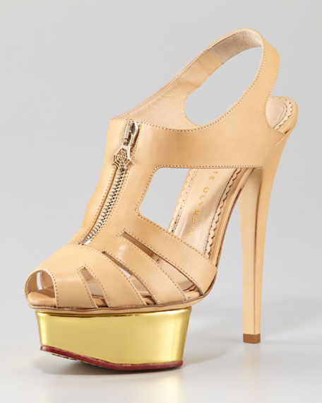 Zip-Front Maxine Cage Sandal