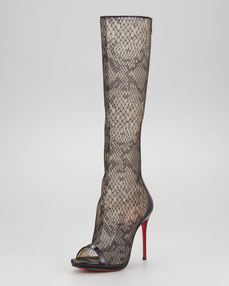 Alta Dentelle Lace Tall Red Sole Boot