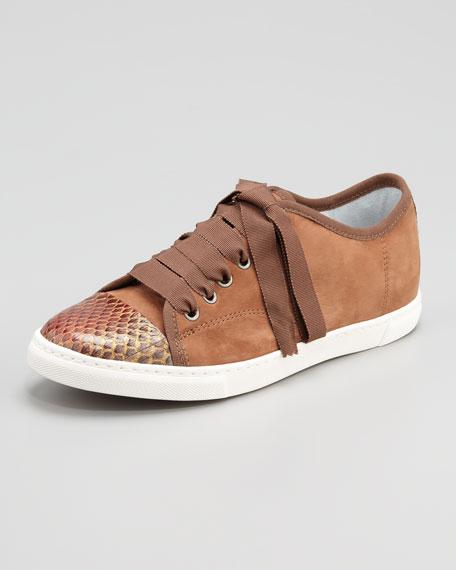 Snake-Cap-Toe Suede Sneaker