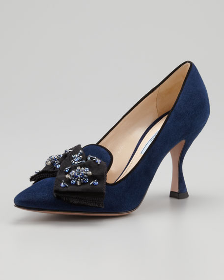 Beaded Bow Suede Pump