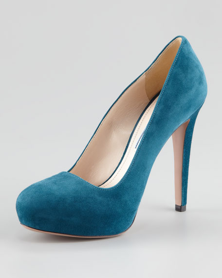 Suede Internal-Platform Pump, Marine
