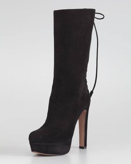 Mid-Calf Suede Lace-Up Boot, Black