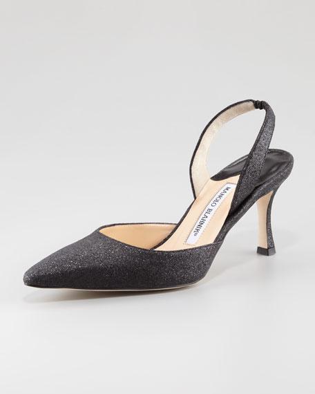 Carolyne Glitter Mid-Heel Halter, Black