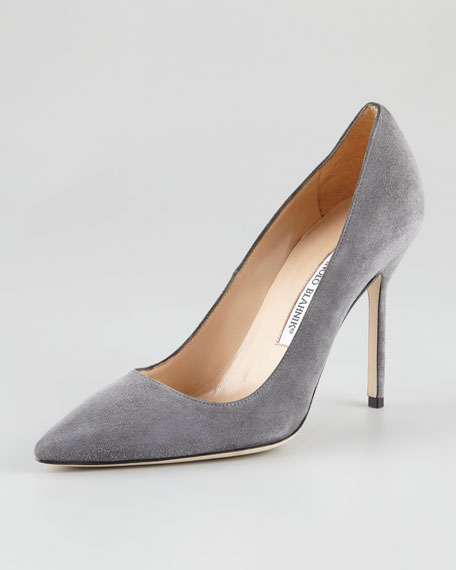 BB Suede Pointed-Toe Pump, Gray