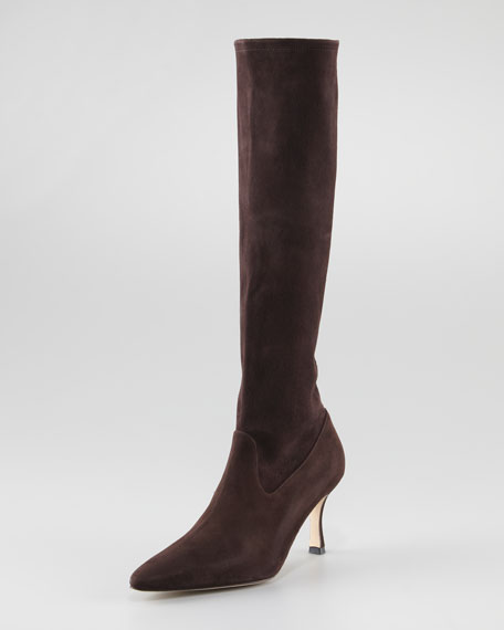 Pascalare Tall Stretch Suede Boot, Brown