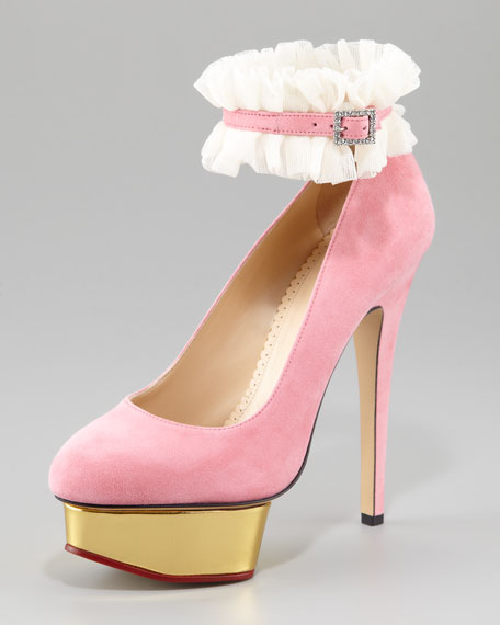 Dolly Island Suede Platform Pump, Light Pink