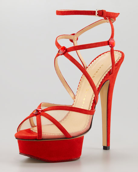 Isadora Strappy Suede Sandal, Red