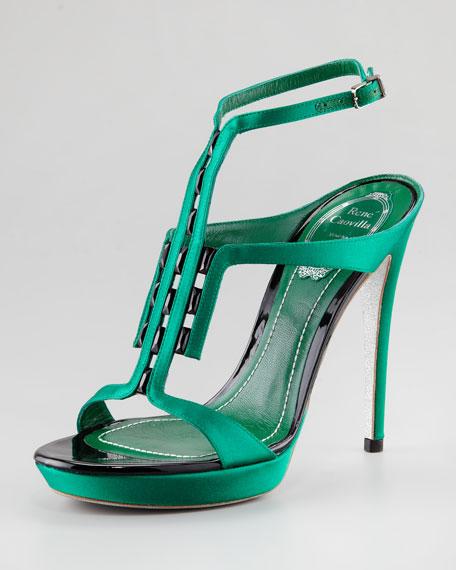 Satin T-Strap Sandal