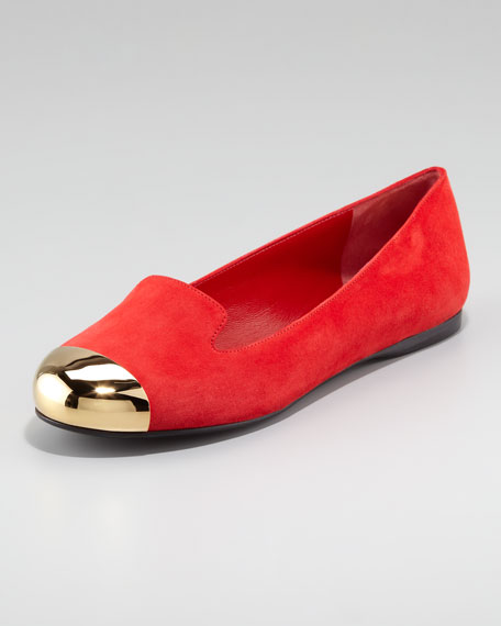 Metallic Cap-Toe Loafer, Red