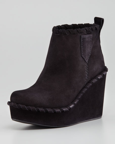 Kendra Whipstitch Wedge Bootie, Black