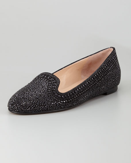 Micro-Studded Smoking Slipper, Black
