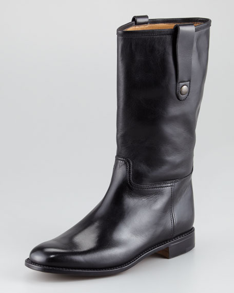 Pull-On Flat Boot, Black