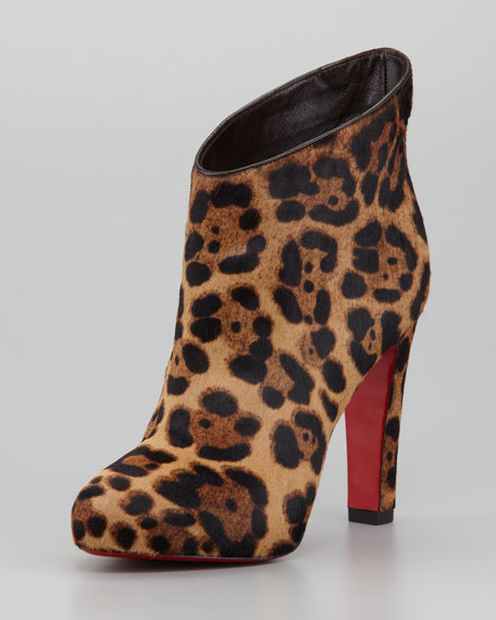 KST Leopard-Print Calf Hair Red Sole Bootie