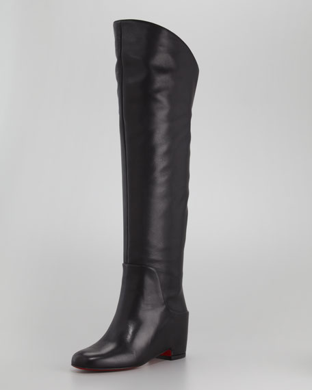 Beatrice Over-the-Knee Leather Red Sole Boot
