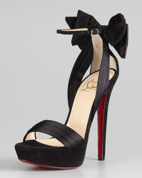 Vampanono Bow Red Sole Sandal, Black