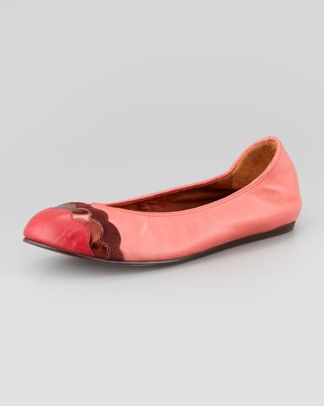 Scalloped Cap-Toe Ballerina Flat, Rose