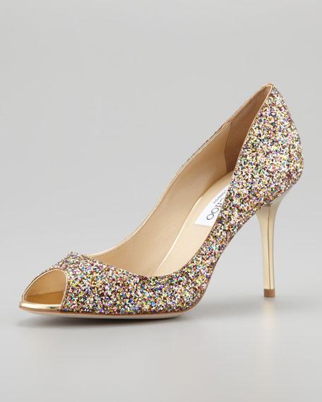Glitter Peep Toe