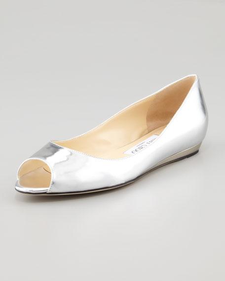 Beck Peep-Toe Flat, Silver
