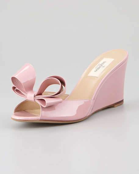 Couture Bow Wedge Slide Sandal, Pop Gardenia