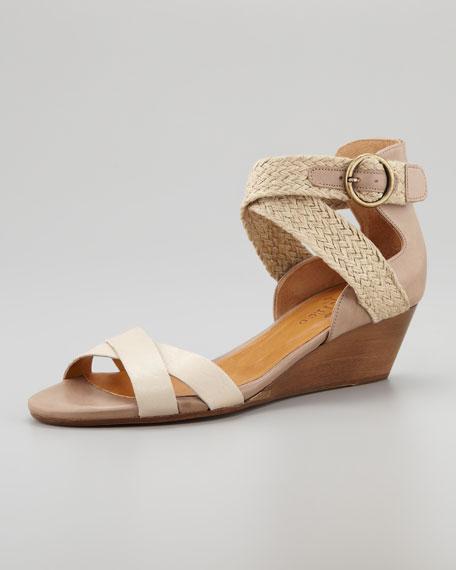 Karmina Cross-Strap Micro Wedge Sandal, Ivory/Gray
