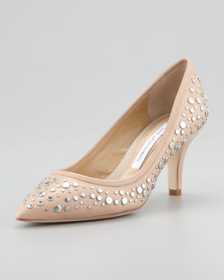 Antion Studded Pump, Nude