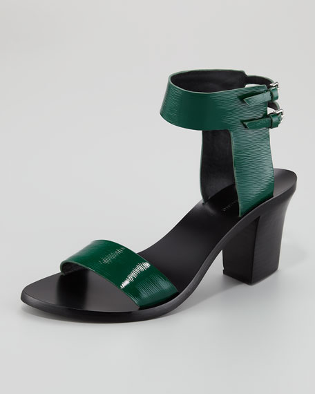 Ariel Hooded Mid-Heel Sandal, Green