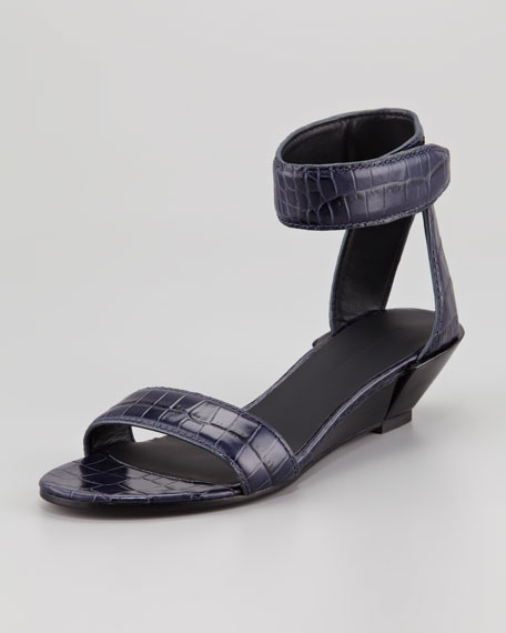 Vika Low-Wedge Crocodile-Embossed Sandal, Blue