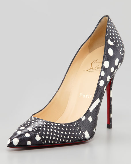 Decollette Polka-Dot Watersnake Red Sole Pump, Black/White