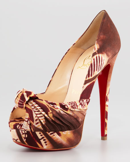 Printed Knotted Red Sole Pump, Brown