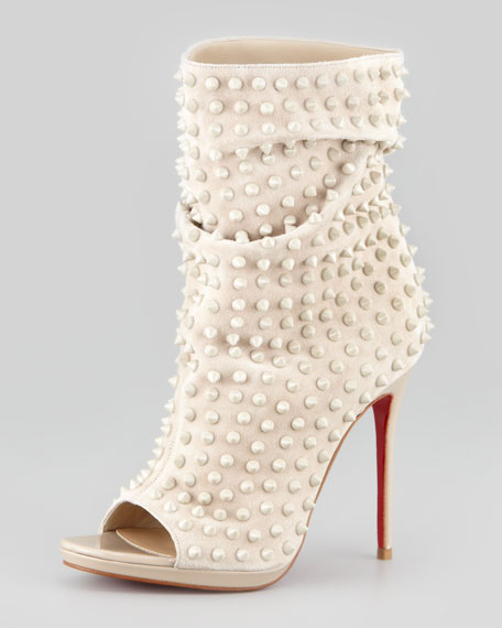 Slouchy Spiked Open-Toe Red-Sole Bootie, Taupe
