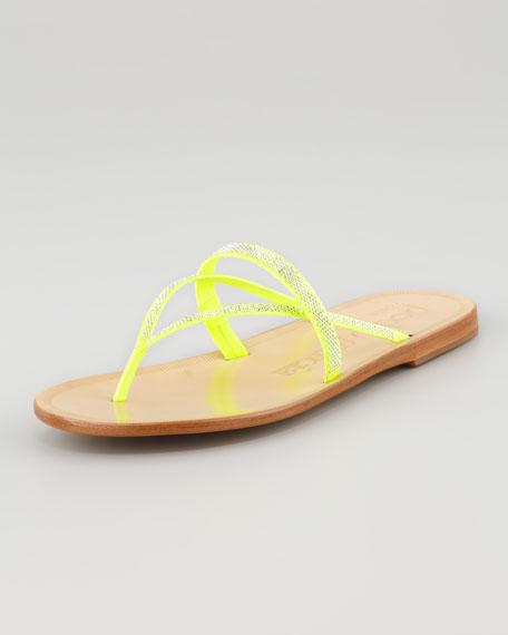 Zuriel Flat Crystal Thong Sandal