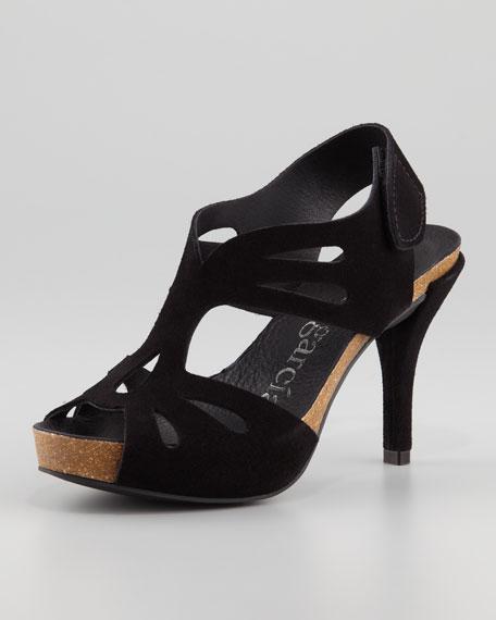 Lucy Peep-Toe Suede Sandal, Black