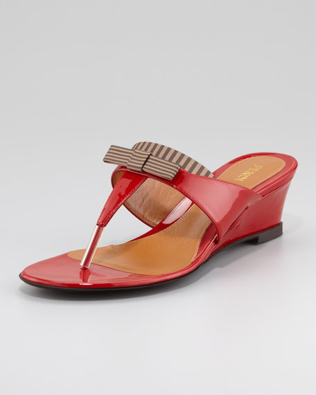 Striped Fabric-Patent Wedge Thong Sandal, Red