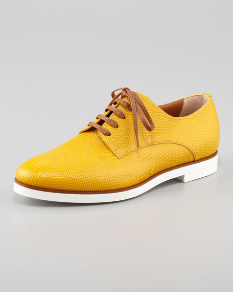 Lizard-Stamped Leather Lace-Up, Yellow