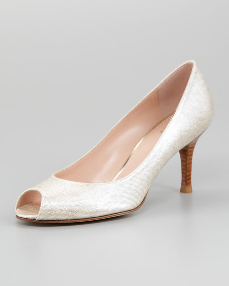 Polly Shimmer Linen Pump, Taupe