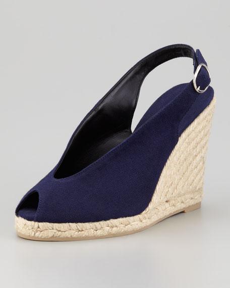 Benita Peep-Toe Wedge Sandal, Navy