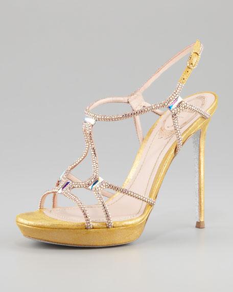 Rene Caovilla Platform Crystal Sandal, Gold