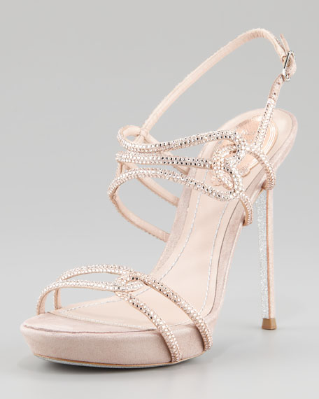 Platform Interlocking Crystal-Strap Strass Sandal