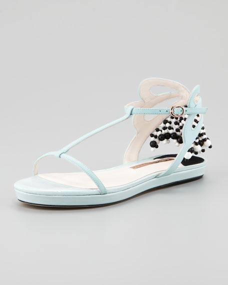 Beaded-Fringe Flat Sandal, Turquoise