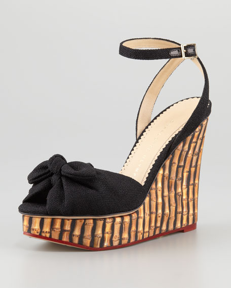 Bamboo-Print Wedges with Ankle Strap