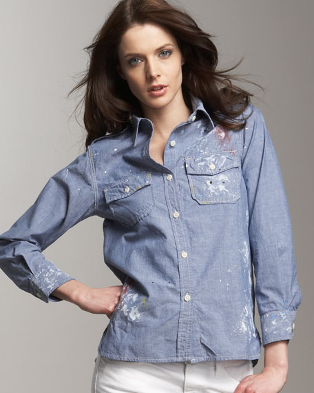 Current/Elliott Chambray Perfect Shirt & The Skinny Studded