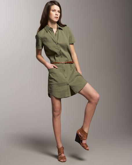 Short-Sleeve Shirtdress with Belt