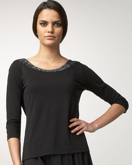 Joan Vass Sequined-Neck Tee