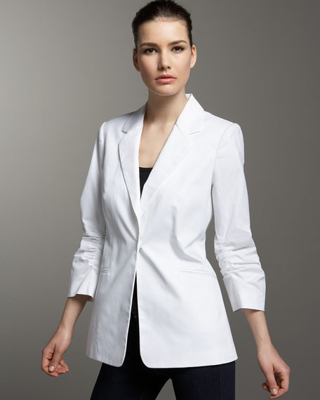 Andrea Behar Ruched-Sleeve Boyfriend Jacket