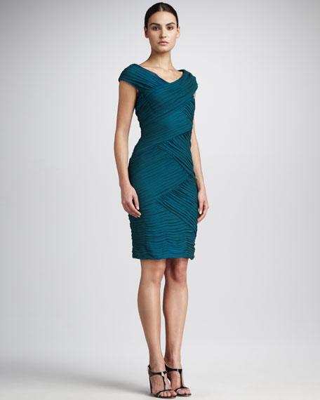 Ruched Silk Zigzag Dress