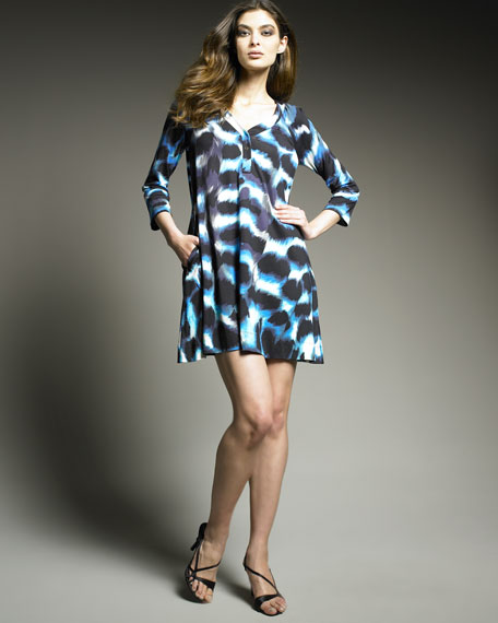 Snap-Front Tunic Dress