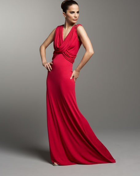 Cowl-Neck Beaded Gown